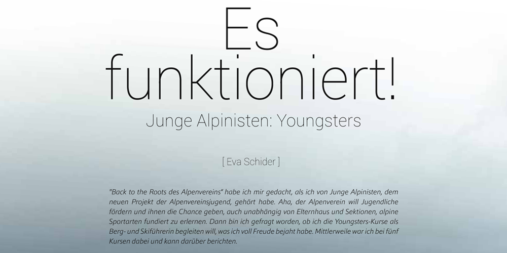 Es funktioniert! Junge Alpinisten YOUNGSTERS