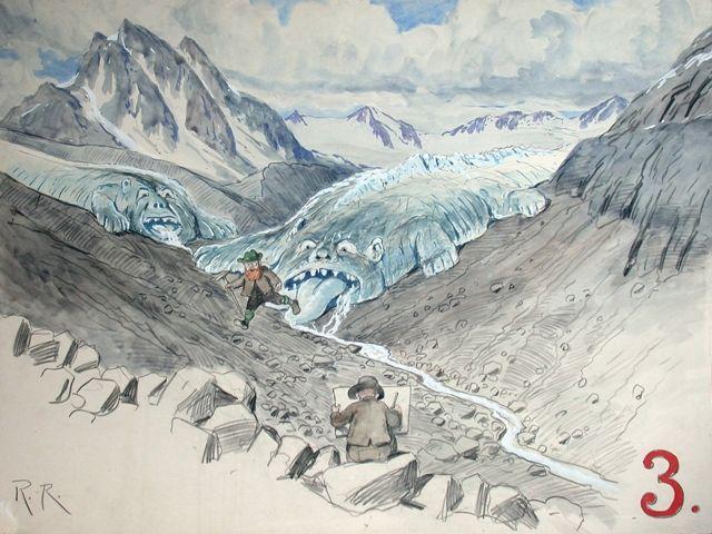Auszug aus einer Karikaturenserie von Rudolf Reschreiter: Der Gletscherforscher