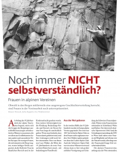Artikel in Bergauf 4/2017 (Foto: The Ladies' Scottish Climbing Club)