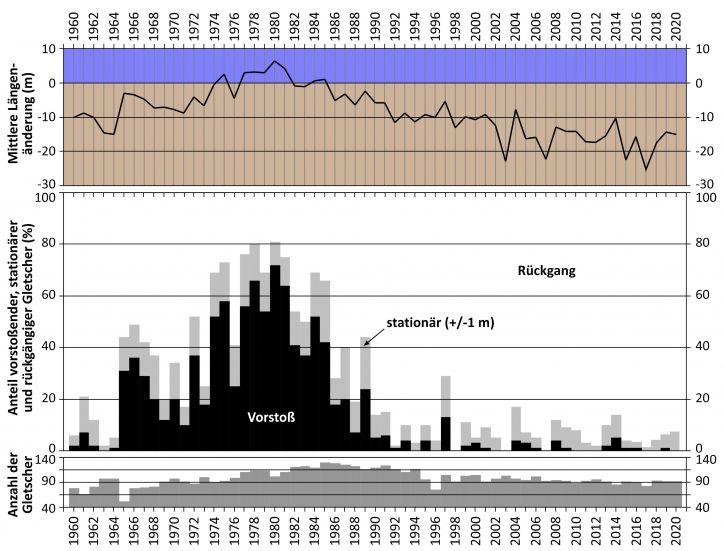 Die mittlere Längenänderung und die Anzahl der vorstoßenden (schwarz), stationären (hellgrau) und zurückschmelzenden (weiß) beobachteten Gletscher zwischen 1960 und 2020.